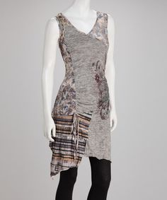 Take a look at this Taupe Stripe Gathered Tunic by Christine Phillipë on #zulily today!