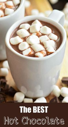 The BEST Homemade Hot Chocolate recipe. This is a rich, smooth, and creamy hot chocolate made with bittersweet chocolate, cocoa powder, milk, and a splash of vanilla extract. #drink #hotchocolate #chocolate #hotcocoa #hotdrink Creamy Hot Chocolate Recipe, Nutella Hot Chocolate, Hot Cocoa Recipe, Homemade Hot Chocolate, Hot Chocolate Recipes, Hot Buttered Rum, Hot Toddy, Yummy Drinks, Fun Drinks