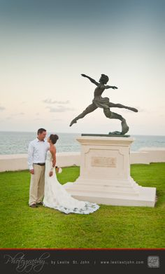 "The statue ""Grande Jete"" by Enzo Plazotta is one of several well known sculptures on the grounds of the Crane Beach Resort. Given that loosely translated the statue's name  means ""great leap"" it seemed appropriate to pose a newlywed couple along side it.  For more info on the photography you can go to:  http://www.lesliestjohn.com  #Barbados #Caribbean #DestinationWedding #Wedding #TheCrane"