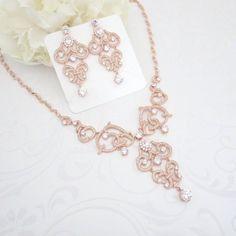 Rose Gold necklace Crystal Bridal necklace Rose Gold Wedding