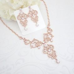 Rose Gold necklace Crystal Bridal necklace by TheExquisiteBride