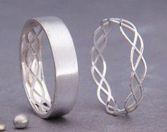 Set de 14 K oro anillos de boda celtas 14k hecho a mano