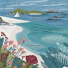 Isles of Scilly beach illustration by Matt Johnson. Greeting card available from Seasalt Cornwall while stocks last. Ocean Illustration, Landscape Illustration, Landscape Art, Mouse Illustration, Boat Art, Coastal Art, Painting Inspiration, Art Drawings, Artwork