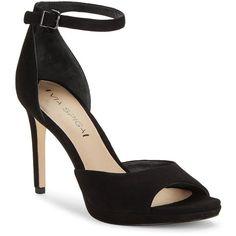 Via Spiga Salina T-Strap Heels ($195) ❤ liked on Polyvore featuring shoes, pumps, black, kohl shoes, via spiga, suede shoes, via spiga pumps and black suede shoes