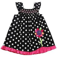 Girl's Infant Dress Flower 12 Months White/Pink/Black Dot- Youngland/Sears $9.99