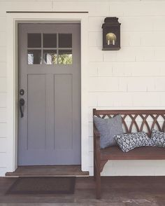 Our new front door color reveal: Cinder by Benjamin Moore. The color was a bit. - Our new front door color reveal: Cinder by Benjamin Moore. The color was a bit… Our new front door color reveal: Cinder by Benjamin Moore. The color was a bit… - Painted Front Doors, House Exterior, Front Door, Farmhouse Front Door, Grey Front Doors, Exterior Doors, Yellow Living Room, Doors, House Colors