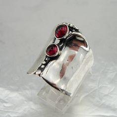 Fine Red Garnet Ring 925 Sterling Silver Garnet Ring size 6