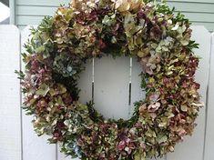 Hydrangea Wreath  Boxwood Wreath  Shabby Chic  Indoor Wreath