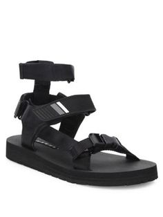 Prada Leather, Webbing And Rubber Sandals In Black Leather Sandals Flat, Caged Sandals, Leather Pumps, Sandalias Teva, Slip On Shoes, Men's Shoes, Italian Shoes For Men, Mens Fashion Magazine, Men's Fashion
