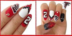 Atlanta Falcons inspired nail art!  Even if you aren't able to duplicate everything you see here, hopefully you can use some of the ideas!