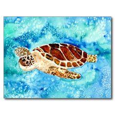 Sea turtle turtles marine sea life sealife watercolor ocean marine animals