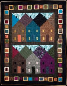 "~ free pattern ~ Around the Corner, 41 x 53"",  by Flavin Glover. Log cabin houses!"