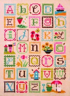 Summer Alphabet (cross stitch) - this might get my embroidery skills up to scratch. Cross Stitch Letters, Cute Cross Stitch, Beaded Cross Stitch, Crochet Cross, Cross Stitch Kits, Cross Stitch Designs, Stitch Patterns, Embroidery Sampler, Cross Stitch Embroidery