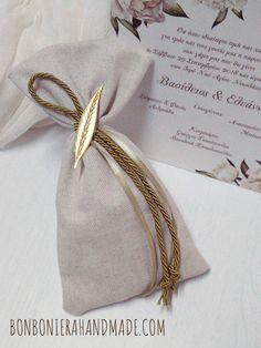 Μπομπονιέρα Γάμου Φυλλαράκι Ελιάς - Bonboniera Handmade Burlap, Reusable Tote Bags, Hessian Fabric