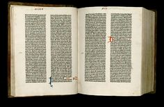 The Gutenberg Bible, printed in Latin with movable type in the 1450s. Forty-seven copies are still in existence.