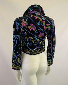 Vintage Emilio Pucci Velvet Jacket Lily Print by Palettelondon