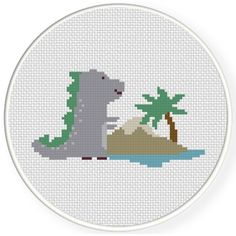 FREE for Feb 20th 2016 Only - Dinosaur In Island Cross Stitch Pattern