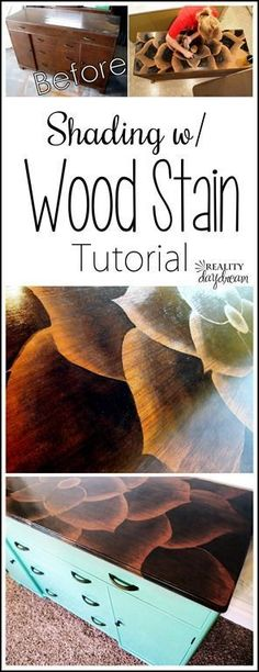The ORIGINAL tutorial on how to Shade with Wood Stain to make beeeeautiful art on furniture! {Reality Daydream} Source by dreaming_in_DIY . Art Furniture, Rustic Furniture, Furniture Makeover, Western Furniture, Refurbishing Furniture, Funky Furniture, Furniture Storage, Painting Furniture, House Furniture