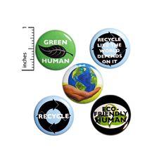 This recycling pins 5 pack is a super cute gift for those ecology warriors in your life! Help create eco-friendly awareness! All buttons have the same pin-back closure shown in the picture of the back of the button (stock photo of the back).We offer funny buttons, positive buttons, encouraging b