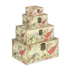 Conjunto de #Baús Pássaros 4 Peças Oldway #produtos #decoração #viagem #trunk @Mundo das Casas Comprar: www.carrodemola.com.br/produtos/2967/conjunto-baus-passaros-4-pecas-oldway-35x23-cm