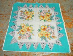 Vintage Handkerchief Floral Yellow Turquoise Pink by TheBackShak