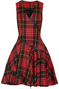 Tartan wool dress by MCQ Alexander McQueen Tartan Dress, Wool Dress, Dress Red, Designer Clothes Sale, Discount Designer Clothes, Designer Clothing, Cute Dresses, Dresses For Work, Loose Dresses