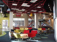 What about something like this in the breakout spaces?  Colorful, central table, circle.