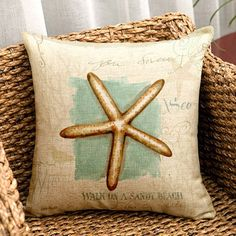 Starfish Painting Pattern Square Shape Pillow Case(Without Pillow Inner)