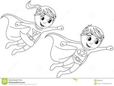 happy superhero kid kids flying isolated coloring page stock - Superhero Coloring Page