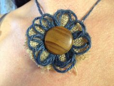 Burlap Button and twine choker in browns by BurlapbuttonsNbeyond
