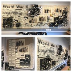 """""""The World War II display is looking pretty full now. The children are so hooked into this topic Year 6 Classroom, 7th Grade Classroom, Ks2 Classroom, High School Classroom, Classroom Design, Classroom Decor, Class Displays, School Displays, Classroom Displays"""