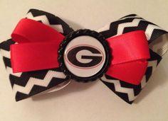 Georgia Bulldog chevron bow