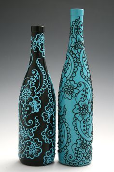 Set of 2 Hand Painted Wine bottle Vases Turquoise by LucentJane