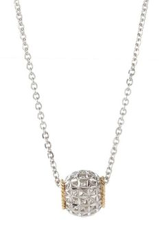 Two-Tone Diamond Cut Barrel Pendant Necklace by Perfect Pair: Silver & Gold Blowout on @HauteLook