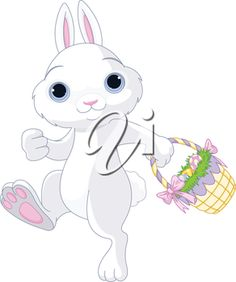 A cute Easter bunny holds full basket of colored egg