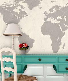 Cream World Map Wall Art