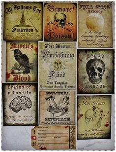 Halloween Night - Sticker Assortment on Etsy, $8.25 decor spooky witches ghouls vintage style