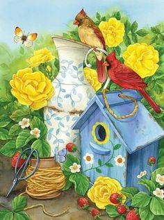 Vase Centerpieces, Vases Decor, Wall Vases, Flower Bird, Flower Vases, Flowers, Small Garden Flags, Art Nouveau, Paper Vase