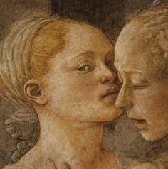 FILIPPO LIPPI (Fra) - Salomè presenta la testa del Battista a Erodiade, dettaglio - affresco - 1452-1465 - Cappella Maggiore, Cattedrale di Santo Stefano, Prato