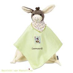 Schmusetücher - Kuscheltuch Esel Emmi mit Namen bestickt - ein Designerstück von Pastellino-Schoenes-zum-Liebhaben bei DaWanda