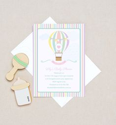 Vintage Hot Air Balloon Baby Shower. Shop Love JK for boy, girl & gender-neutral baby shower invitations.