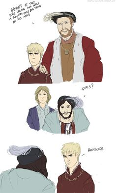 """Hetalia meets """"The Addams Family"""": King Henry VIII of England brings Arthur to meet King Francis I of France and, well, Francis (seriously, what?). Hilarity of a rather dark sort ensues :P - Art by temple-secrets.tumblr.com"""
