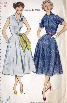 1950s Misses Dress Vintage Sewing Pattern by MissBettysAttic, $12.00