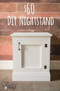 DIY Nightstand or Bedside Table for $60… Easy build too! LOVE it! www.shanty-2-chic.com