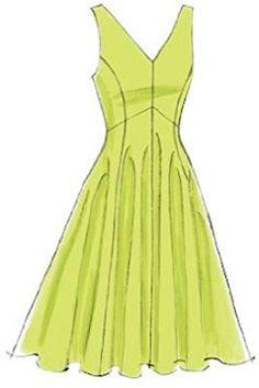 Vogue Patterns Sewing Pattern Misses' Princess Seam V-Neck Dresses Dress Design Drawing, Dress Design Sketches, Fashion Design Drawings, Fashion Sketches, Dress Designs, Fashion Drawing Dresses, Fashion Dresses, Fashion Fashion, Vogue Sewing Patterns