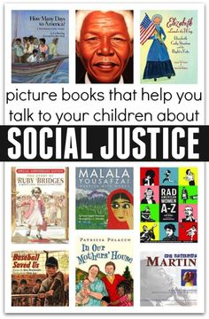 """Social Justice Literacy Books"" from No Time for Flash Cards. This is a list of resourceful books on the theme of social justice. One book I would use in my classroom is ""Ruby Bridges"" which I used in one of the lesson plan we created in class. Help Teaching, Teaching Reading, Kids Reading, Reading Nook, Teaching Themes, Kids Writing, Teaching Strategies, Guided Reading, Restorative Justice"