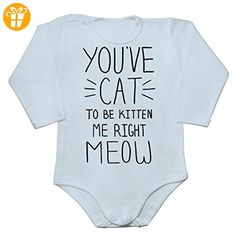 You've Cat To Be Kitten Me Right Meow Baby Long Sleeve Romper Bodysuit Large - Baby bodys baby einteiler baby stampler (*Partner-Link)