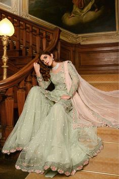 Georgette Pakistani Suit In Green Colour <br> This Exclusive Pakistani Suit Is An Ultimate Party Wear Collection With The Mesmerizing Colours Of Green With The Artistic Embridery , Leave No Stone Unturned And Be At Your Fashionable Best. Pakistani Fashion Party Wear, Pakistani Wedding Outfits, Pakistani Couture, Indian Fashion Dresses, Pakistani Dress Design, Indian Designer Outfits, Bridal Outfits, Indian Outfits, Designer Dresses