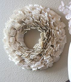 Awesome wreath made from book pages and an edge-punch