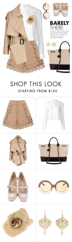 """""""work your neutrals"""" by pensivepeacock ❤ liked on Polyvore featuring self-portrait, Helmut Lang, Burberry, Chanel, Christian Louboutin and Karen Walker"""